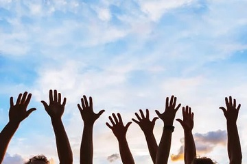 arms raised Volunteer with ACCP